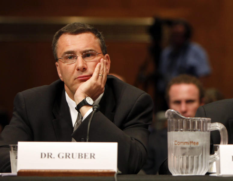 "FILE - In this May 12, 2009, file photo Jonathan Gruber, professor of Economics at the Massachusetts Institute of Technology, participates in a Capitol Hill hearing on the overhaul of the heath care system in Washington. A supporter of the Affordable Care Act, Gruber says, ""It's so crazy to think that a society that has Social Security and Medicare would not find this (law) constitutional."" Gruber advised both the Obama administration and Massachusetts lawmakers as they developed the state mandate in the 2006 law that Republican presidential candidate Mitt Romney championed as governor. (AP Photo/Pablo Martinez Monsivais, File)"