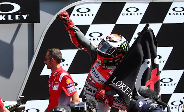 Motorcycling - MotoGP - Italian Grand Prix - Mugello Circuit, Scarperia, Italy - June 3, 2018 Ducati Team's Jorge Lorenzo celebrates after winning the race REUTERS/Alessandro Bianchi