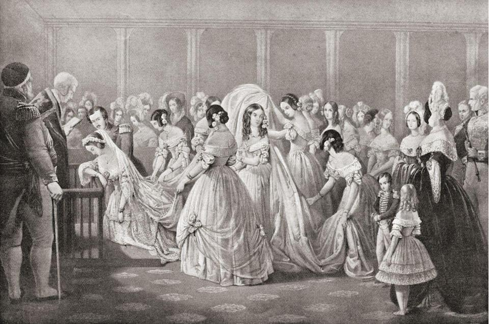 """<p>If you were a fan of Meghan Markle or Kate Middleton's wedding dresses, you <em>kind of </em>have Queen Victoria to thank. The British monarchy <a href=""""https://www.biography.com/royalty/queen-victoria"""" rel=""""nofollow noopener"""" target=""""_blank"""" data-ylk=""""slk:started the tradition of brides wearing white"""" class=""""link rapid-noclick-resp"""">started the tradition of brides wearing white</a> on their wedding day when she married Prince Albert. Before then, women didn't wear one set color.</p>"""