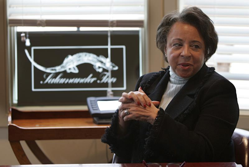 Co-founder of Black Entertainment Television Network, Sheila Johnson, answers a question during an interview at her farm in The Plains, Va., Nov. 28, 2005. Johnson is planning a luxurious spa, called the Salamander Inn, in her new hometown in the rolling hills of horse country and heading up the inaugural committee for Gov.-elect Tim Kaine. (AP Photo/Steve Helber)
