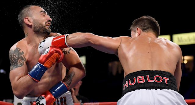 Vanes Martirosyan takes a punch from Gennady Golovkin losing in a second round knockout during the WBC-WBA Middleweight Championship at StubHub Center on May 5, 2018 in Carson, California. (Getty Images)