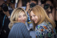 FILE - In this July 10, 2021 file photo Valeria Bruni Tedeschi, left, and Vanessa Paradis pose for photographers at the photo call for the film 'Love Songs for Tough Guys' at the 74th international film festival, Cannes, southern France. (Photo by Vianney Le Caer/Invision/AP, File)