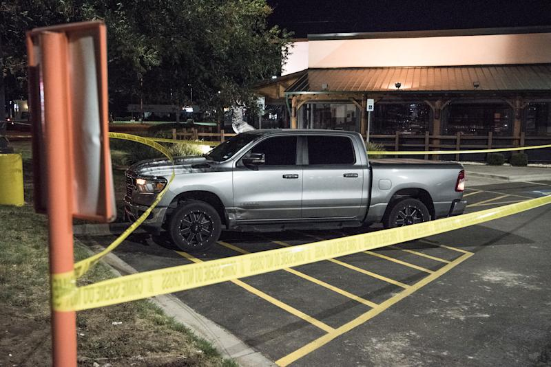 ODESSA, TEXAS - AUGUST 31: Police tape marks the scene outside a Twin Peaks restaurant after multiple people were shot on August 31, 2019 in Odessa, Texas. Officials say an unidentified suspect was shot and killed after killing 5 people and injuring 21 in Odessa and nearby Midland. (Photo by Cengiz Yar/Getty Images)