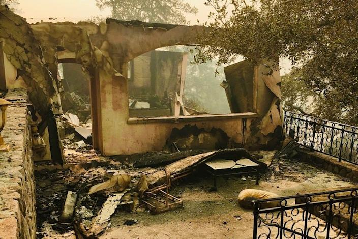Eileen R. Tabios' guest house after burning in the Glass Fire.