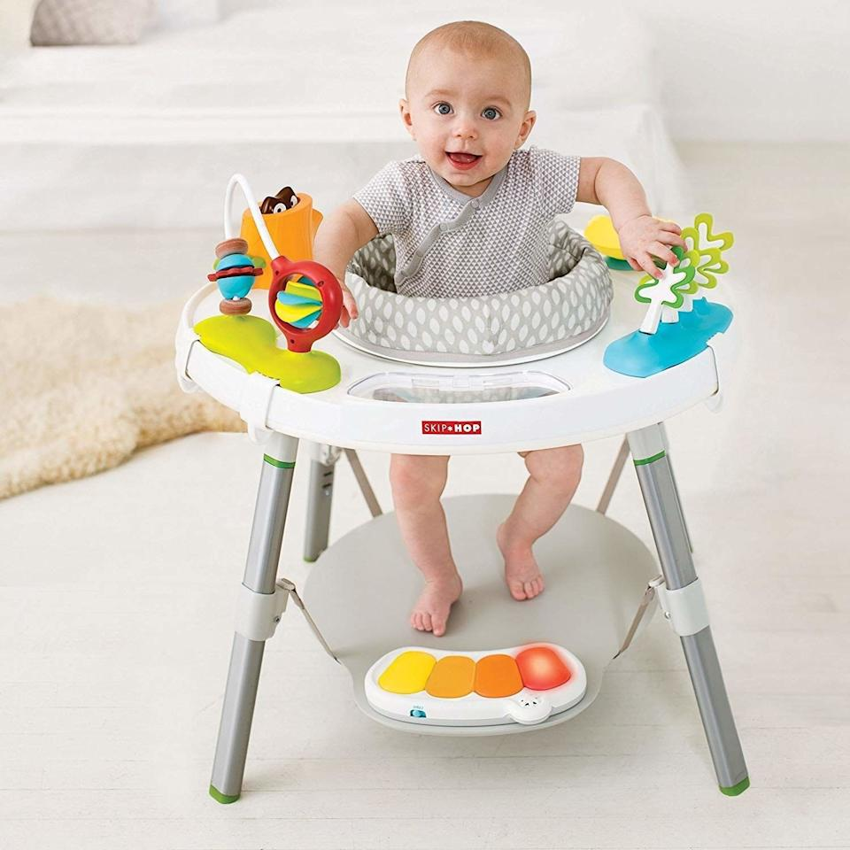 """A variety of toys (hello, peekaboo clouds) and a 360-degree rotating seat will keep your baby entertained while you take a little time to relax.<br /><br /><strong>Promising review:</strong>""""This is amazing for all of the reasons included in the product description. Want to know what isn't written there?<strong>In addition to serving as a great source of entertainment, and let's be honest, giving mama a much needed hands-free break, this unit is basically a MAGIC POOP PRODUCER. My eight-month-old has struggled with constipation ever since she started on solids but a few minutes in this bad boy and, without fail, we have a special delivery.</strong>We literally call it the poop machine and we send her for a ride anytime she's gone a day or so without a deposit. Best feature ever!"""" —<a href=""""https://amzn.to/3eEXvRa"""" target=""""_blank"""" rel=""""nofollow noopener noreferrer"""" data-skimlinks-tracking=""""5189597"""" data-vars-affiliate=""""Amazon"""" data-vars-href=""""https://www.amazon.com/gp/customer-reviews/RLD9ATAVQ1MIK?tag=bfheather-20&ascsubtag=5189597%2C12%2C44%2Cmobile_web%2C0%2C0%2C160777"""" data-vars-keywords=""""cleaning"""" data-vars-link-id=""""160777"""" data-vars-price="""""""" data-vars-product-id=""""15996810"""" data-vars-retailers=""""Amazon"""">Robyn Tucker<br /><br /></a><strong><a href=""""https://amzn.to/3fhFdVp"""" target=""""_blank"""" rel=""""noopener noreferrer"""">Get it from Amazon for$124.26.</a></strong>"""