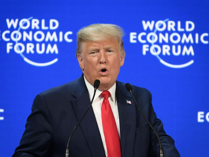Donald Trump addresses the World Economic Forum at the congress centre in Davos: AFP via Getty Images