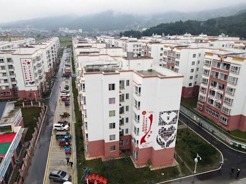 The Chengbei Ganen Community is the largest relocation settlement from inhospitable areas of the poverty alleviation initiative of Yuexi county, Sichuan province. Photo: Simon Song