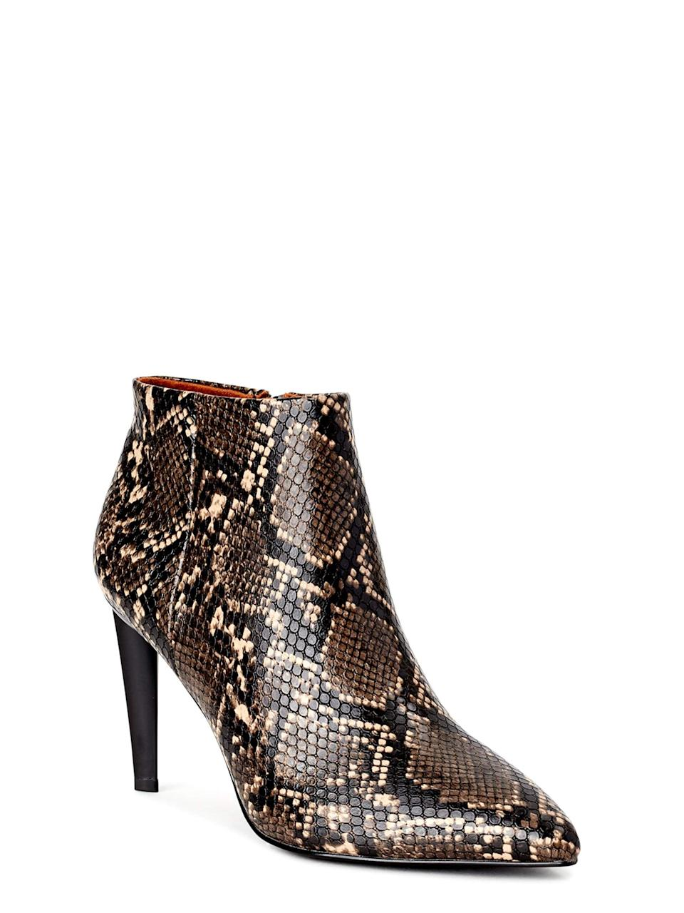<p>How cute are these <span>Kendall + Kylie Renza Snake Print Stiletto Bootie</span> ($23, originally $110)!?</p>