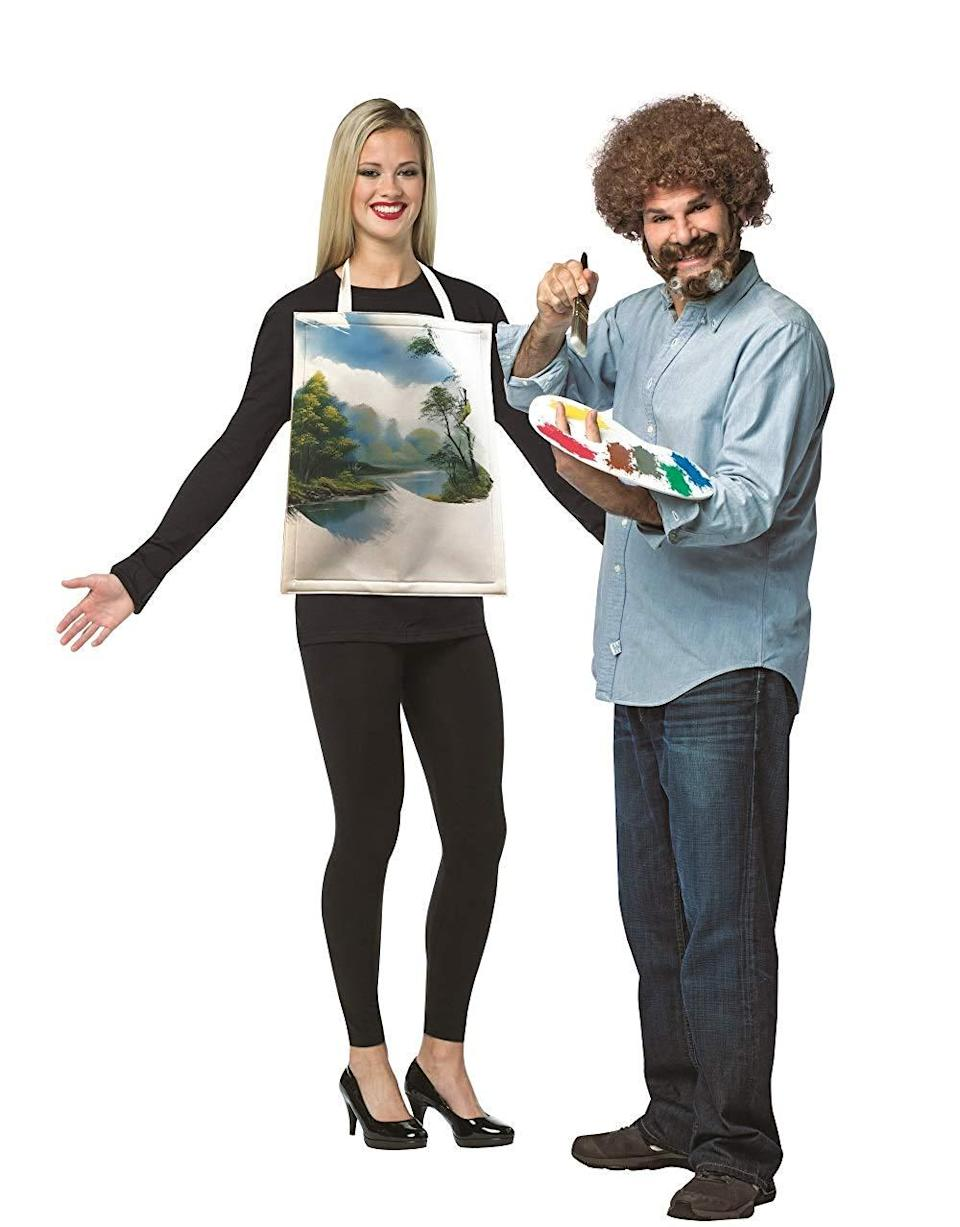 Bob Ross Kit & Painted Canvas Couples Halloween Costume