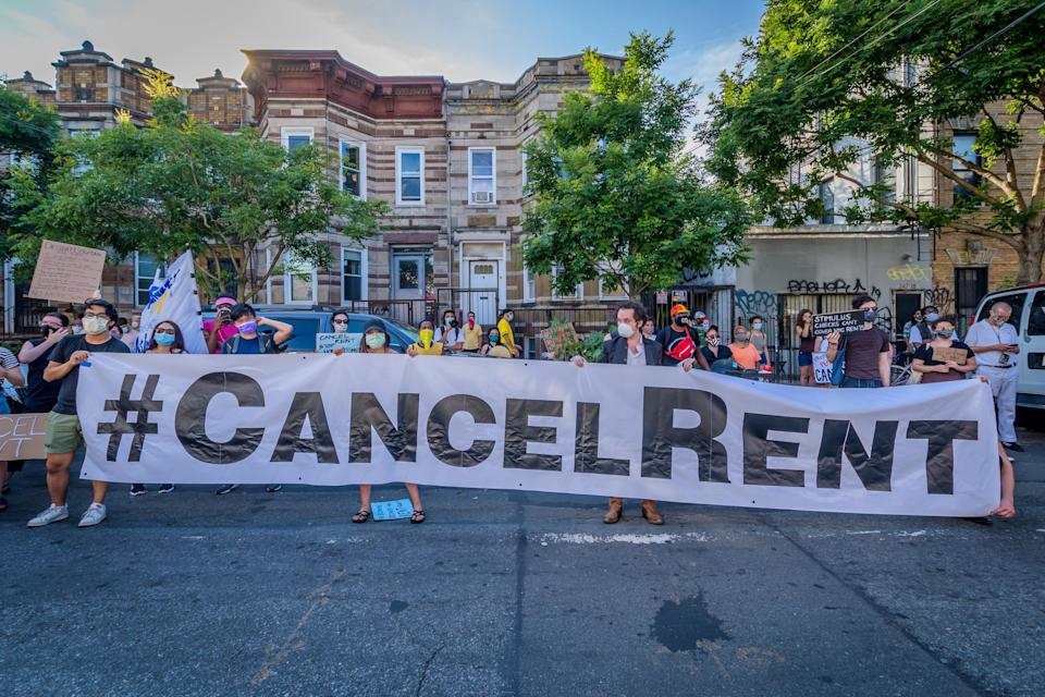 Participants hold a #CancelRent banner at the protest. Tenants and Housing Activists gathered at Maria Hernandez Park for a rally and march in the streets of Bushwick, demanding the city administration to cancel rent immediately as the financial situation for many New Yorkers remains the same, strapped for cash and out of work. (Erik McGregor/LightRocket via Getty Images)