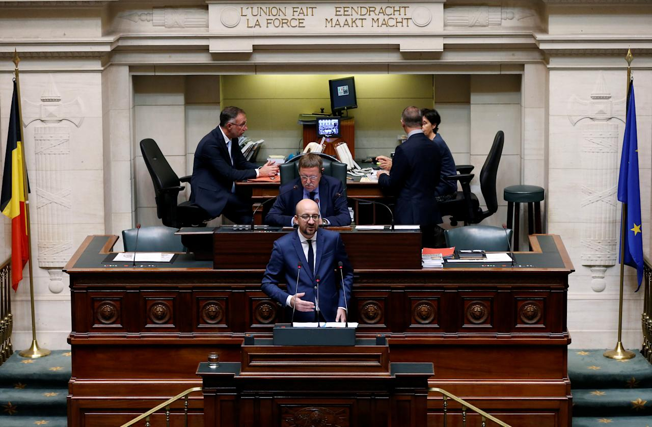 Belgium's Prime Minister Charles Michel speaks during his state-of-the-union address at the Belgian Parliament in Brussels, October 16, 2016.   REUTERS/Francois Lenoir
