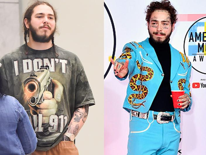 Post Malone in 2016 and 2018.