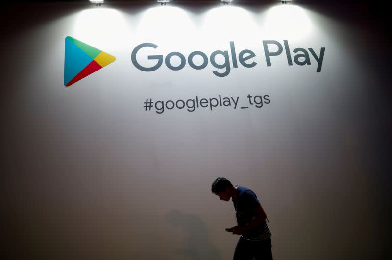 FILE PHOTO: The logo of Google Play is displayed at Tokyo Game Show 2019 in Chiba