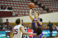 Tennessee Tech's Taelon Peter (2) shoots over Indiana's Race Thompson (25) during the second half of an NCAA college basketball game, Wednesday, Nov. 25, 2020, in Bloomington, Ind. (AP Photo/Darron Cummings)