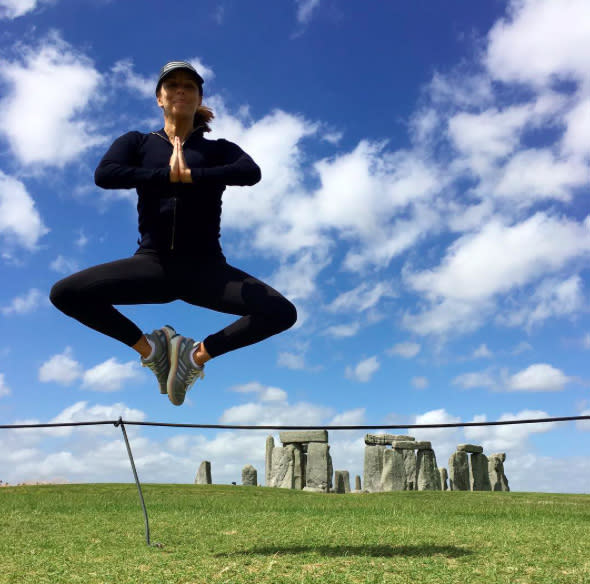 "<p>Proving her multitasking skills in England, Longoria, outfitted in activewear, jumped while she was meditating at Stonehenge in August. (Photo: <a rel=""nofollow"" href=""https://www.instagram.com/p/BIz5czMgeWY/"">Instagram</a>) </p>"