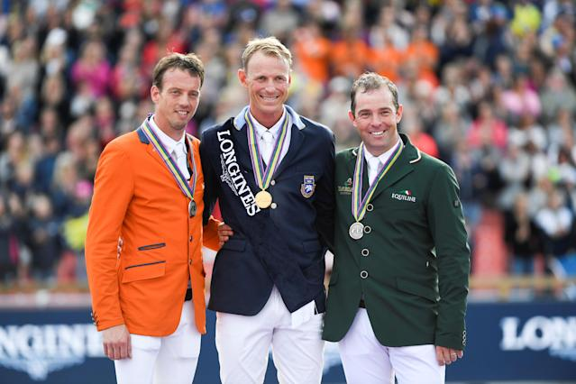 Equestrian - FEI European Championships 2017 - Jumping Individual Final victory ceremony - Ullevi Stadium, Gothenburg, Sweden - August 27, 2017 - Harrie Smolders (silver) of the Netherlands, Peder Fredicson (gold) of Sweden and Cian O'Connor (bronze) of Ireland pose with medals. TT News Agency/Pontus Lundahl via REUTERS ATTENTION EDITORS - THIS IMAGE WAS PROVIDED BY A THIRD PARTY. SWEDEN OUT. NO COMMERCIAL OR EDITORIAL SALES IN SWEDEN