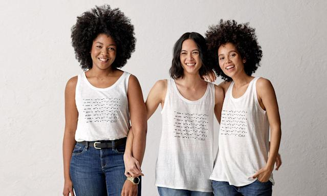 "<p>Eileen Fisher has been leading her namesake womenswear brand for over 20 years, with female employees making up 70% of its staff. In honor of IWD, Fisher has designed a special tank that spells ""The future is female"" in Morse code. Fisher has been a champion of female causes since 2007, contributing $8 million and supporting 71 different organizations, and 100% of the proceeds from this tank will benefit <a href=""http://www.ignitenational.org/"" rel=""nofollow noopener"" target=""_blank"" data-ylk=""slk:Ignite"" class=""link rapid-noclick-resp"">Ignite</a>, an organization that empowers young women to become tomorrow's leaders.<br><br>""The future is female"" Tank, $98, <a href=""https://www.eileenfisher.com/women/collections/the-future-is-female/"" rel=""nofollow noopener"" target=""_blank"" data-ylk=""slk:eileenfisher.com"" class=""link rapid-noclick-resp"">eileenfisher.com</a> </p>"