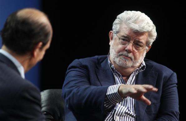 "George Lucas, $90 million: George Lucas (R) takes part in ""A Conversation with George Lucas"" hosted by Michael Milken, chairman of Milken Institute at the Milken Institute Global Conference in Beverly Hills, California April 30, 2012."