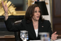 Vice President Kamala Harris attends a meeting with business CEO's about economic development in the Northern Triangle, Thursday, May 27, 2021, from her ceremonial office on the White House complex in Washington. (AP Photo/Jacquelyn Martin)