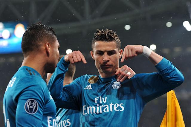 Cristiano Ronaldo celebrates his goal for Real Madrid against Juventus in the Champions League on Tuesday. (Getty)