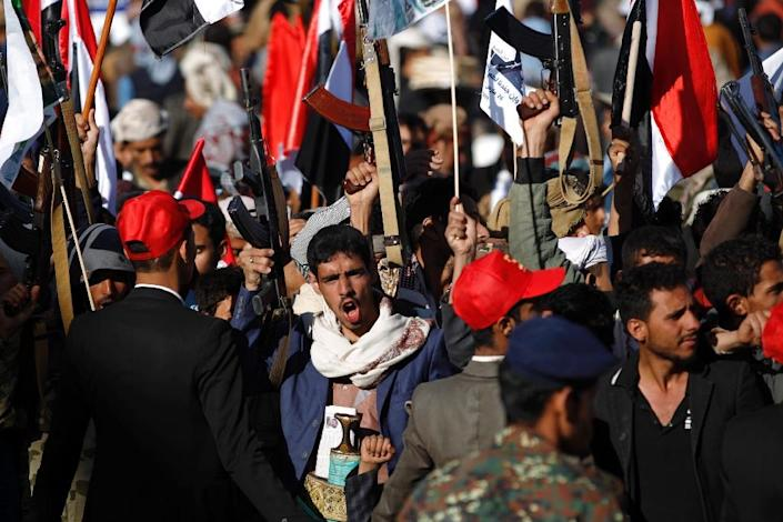 Supporters of Yemen's Huthi rebels attend a rally in Sanaa on March 26, 2018 to mark three years of war (AFP Photo/MOHAMMED HUWAIS)