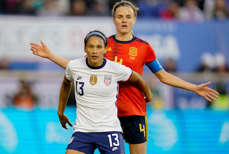 USWNT's Lynn Williams defends against Spain's Irene Hernandez during their game at Red Bull Arena on March 8, 2020 in the SheBelieves Cup. (Photo by Brad Smith/ISI Photos/Getty Images)