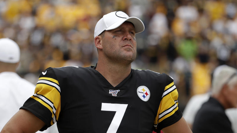 Pittsburgh Steelers quarterback Ben Roethlisberger (7) walks off the field as time runs out in a 28-26 loss to the Seattle Seahawks in an NFL football game in Pittsburgh, Sunday, Sept. 15, 2019. Roethlisberger did not play the second half of the game. (AP Photo/Gene J. Puskar)