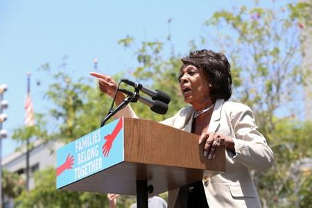 """FILE PHOTO: Representative Maxine Waters speaks during a national day of action called """"Keep Families Together"""" to protest the Trump administration's 'Zero Tolerance' policy in Los Angeles"""