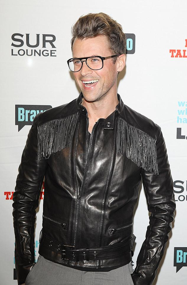 """It's a Brad, Brad World"" star Brad Goreski left his usual bow tie at  home. Instead, the celebrity fashion stylist (who got his start with  Rachel Zoe) opted for a fringed cowboy-style leather jacket. (5/14/2012)"