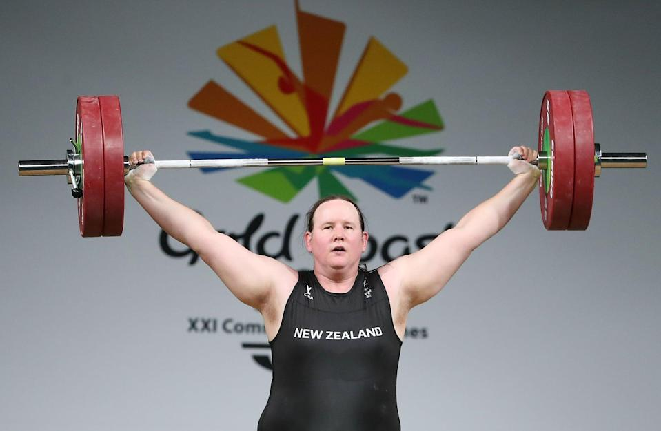 GOLD COAST, AUSTRALIA - APRIL 09:  Laurel Hubbard of New Zealand competes in the Women's +90kg Final during the Weightlifting on day five of the Gold Coast 2018 Commonwealth Games at Carrara Sports and Leisure Centre on April 9, 2018 on the Gold Coast, Australia.  (Photo by Scott Barbour/Getty Images)