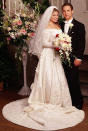 """<p>When Cory and Topanga said """"I do"""" in season 7, it was a long time coming. So what does one wear when marrying their childhood crush? If you're Topanga, an off-the-shoulder lace stunner.</p>"""