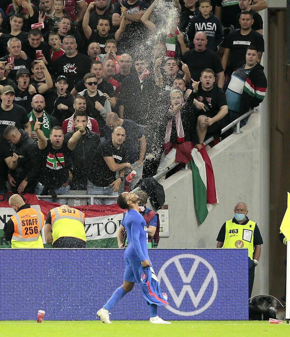 Raheem Sterling was subjected to monkey chants, with cups hurled at him on the pitch during the Hungary vs England fixture (Attila Trenka/PA Wire) (PA Wire)