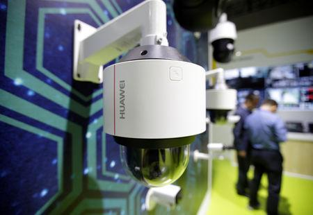 A Huawei surveillance camera is seen displayed at an exhibition during the World Intelligence Congress in Tianjin, China May 16, 2019.  REUTERS/Jason Lee