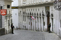 After a shooting armed police officers guard the synagogue in Vienna, Austria, Tuesday, Nov. 3, 2020. Police in the Austrian capital said several shots were fired shortly after 8 p.m. local time on Monday, Nov. 2, in a lively street in the city center of Vienna. Austria's top security official said authorities believe there were several gunmen involved and that a police operation was still ongoing. (Photo/Ronald Zak)