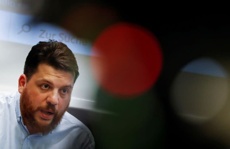 FILE PHOTO: Leonid Volkov, chief of staff of Navalny's team, hold a news conference in Berlin