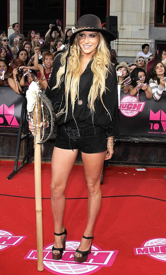 "Ke$ha worked her voodoo magic at the awards by showing up with a feathered, animal skull-decorated staff. George Pimentel/<a href=""http://www.wireimage.com"" target=""new"">WireImage.com</a> - June 20, 2010"