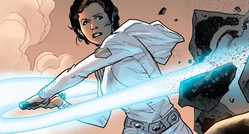 Leia wielded a lightsaber in Marvel Comic's 2015 Star Wars #12. (Marvel Comics)