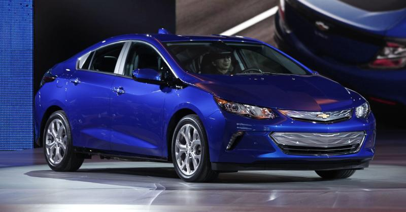 General Motors reveals the new 2016 Chevrolet Volt to the media at the 2015 North American International Auto Show on January 12, 2015 in Detroit, Michigan.