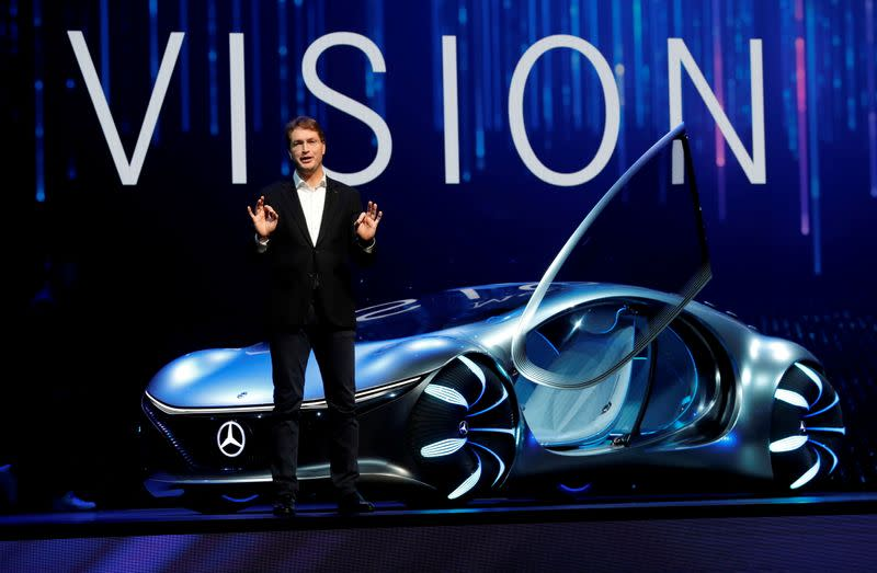 FILE PHOTO: Ola Kallenius, chairman of the board of Daimler AG and Mercedes-Benz AG, unveils the Mercedes-Benz Vision AVTR concept car, inspired by the Avatar movies, at a Daimler keynote address during the 2020 CES in Las Vegas