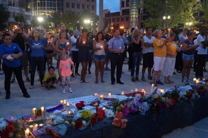 A candlelight vigil was held on June 13, 2016, outside the Dr. Phillips Center for the Performing Arts in downtown Orlando for victims of the Pulse shooting. (Photo: Michael Walsh/Yahoo News)