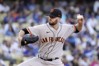 San Francisco Giants starting pitcher Alex Wood throws to the plate during the first inning of a baseball game against the Los Angeles Dodgers Tuesday, July 20, 2021, in Los Angeles. (AP Photo/Mark J. Terrill)
