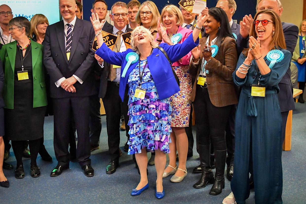 Brexit Party candidate Anne Widdecombe rejoices as her party secures seats in the South West region during the European Parliamentary elections count at the Civic Centre in Poole.