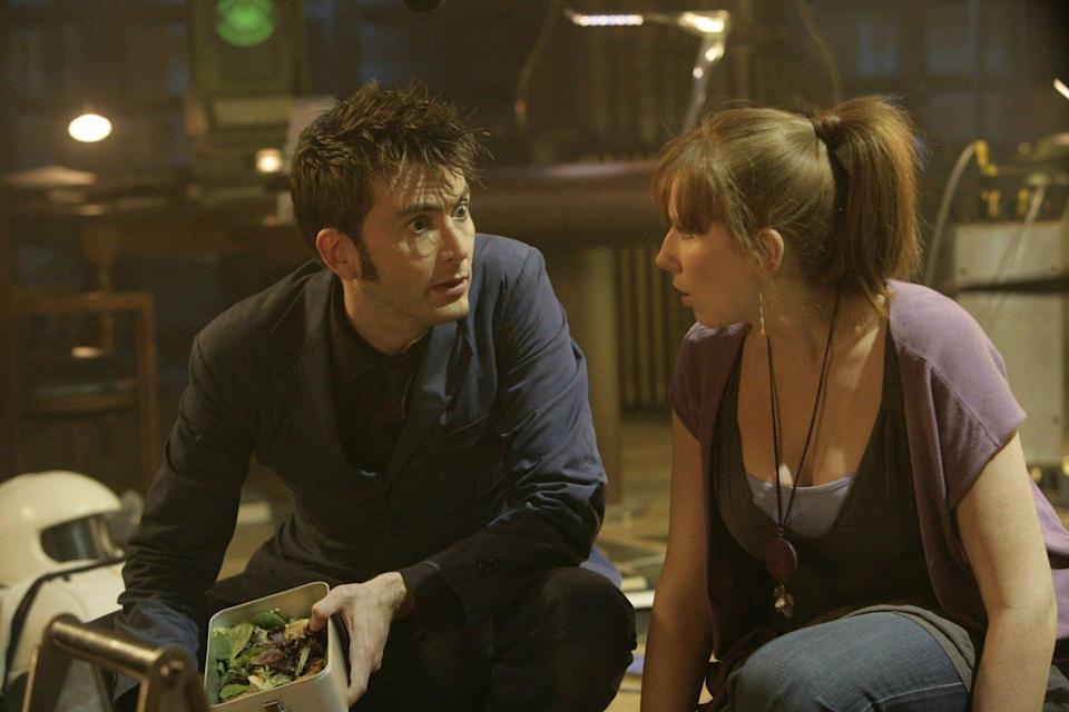 Tenth Doctor and Donna in library