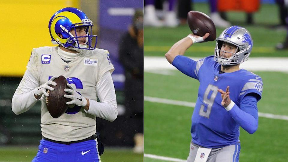 Jared Goff, left, and Matthew Stafford. (Getty Images)