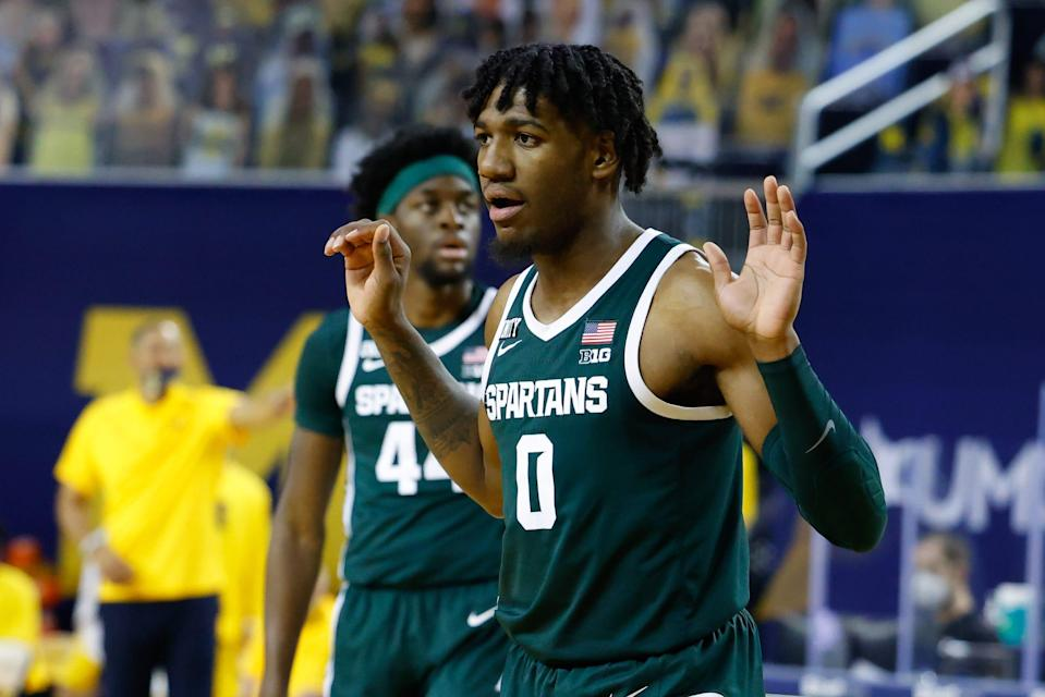 Michigan State Spartans forward Aaron Henry reacts to a call in the first half against the Michigan Wolverines at Crisler Center, March 4, 2021.