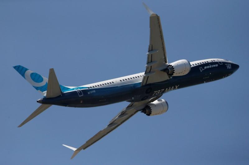 A Boeing 737 Max takes part in a flyng display at the first day of the 52nd Paris Air Show at Le Bourget airport near Paris