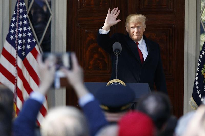 President Donald Trump waves after speaking at the Hermitage, the home of President Andrew Jackson, to commemorate Jackson's 250th birthday, Wednesday, March 15, 2017, in Nashville, Tenn. (AP Photo/Evan Vucci)