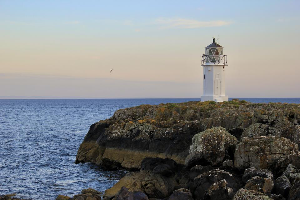 Rubh' an Eun lighthouse overlooking the Firth of Clyde - Isle of Bute, Scotland.
