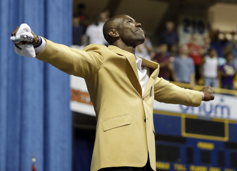 Terrell Owens after his Pro Football Hall of Fame speech in Chattanooga. (AP)