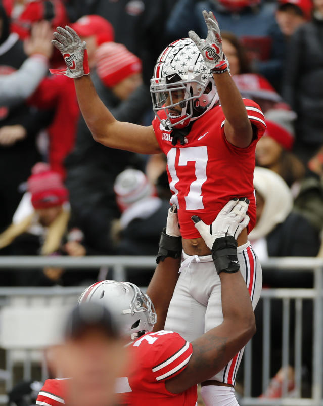Ohio State receiver Chris Olave celebrates his touchdown against Maryland during the first half of an NCAA college football game, Saturday, Nov. 9, 2019, in Columbus, Ohio. (AP Photo/Jay LaPrete)